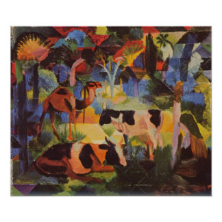 Landscape with cows and camels by August Macke Poster