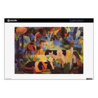Landscape with cows and camels by August Macke Skin For Laptop