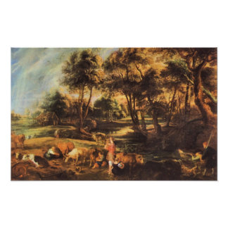Landscape with cows and duck hunters by Rubens Poster