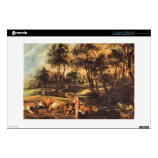"""Landscape with cows and duck hunters by Rubens 13"""" Laptop Skins"""