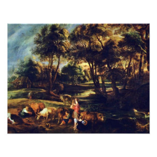Landscape With Cows And Ducks Hunters By Rubens Personalized Invitation