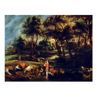 Landscape With Cows And Ducks Hunters By Rubens Postcard