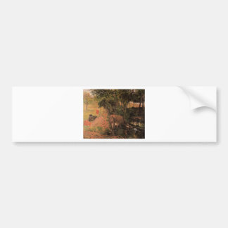 Landscape with cows in an Orchard by Paul Gauguin Car Bumper Sticker