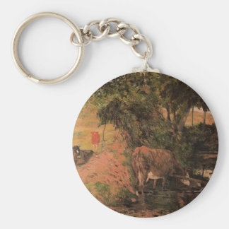 Landscape with cows in an Orchard by Paul Gauguin Basic Round Button Keychain