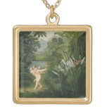 Landscape with Cupid aiming an arrow at a Parrot o Necklaces