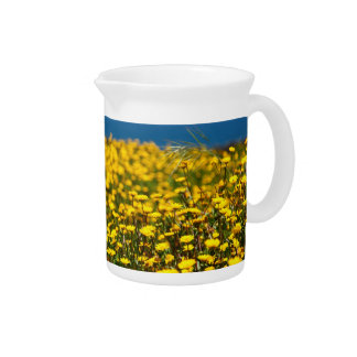 Landscape with daisies beverage pitcher