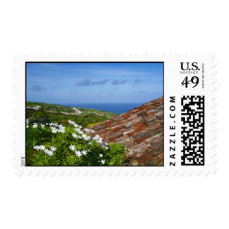 Landscape with daisies postage stamp