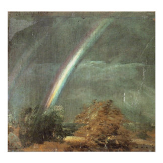 Landscape with double Rainbow - John Constable Poster