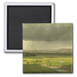 Landscape with Dresden in the Distance, 1830 2 Inch Square Magnet