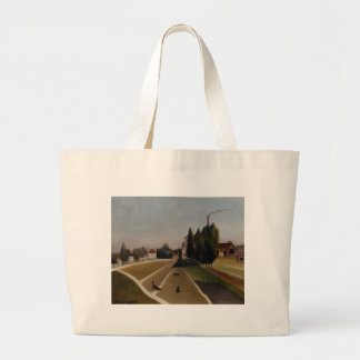 Landscape with Factory by Henri Rousseau Large Tote Bag