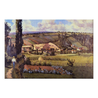 Landscape with Farm Houses by Camille Pissarro Poster