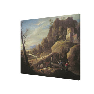 Landscape with Farmers tending their Animals Canvas Print