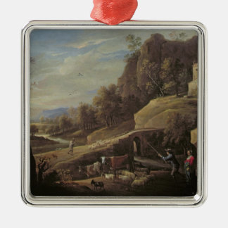 Landscape with Farmers tending their Animals Metal Ornament