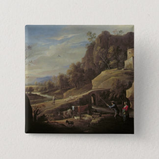 Landscape with Farmers tending their Animals Pinback Button