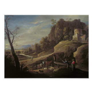 Landscape with Farmers tending their Animals Poster