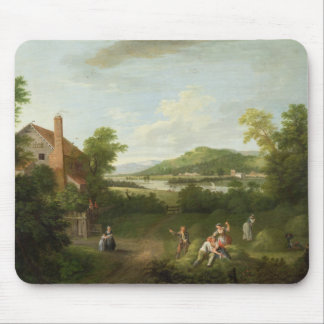 Landscape with Farmworkers, c.1730-40 (oil on canv Mouse Pad