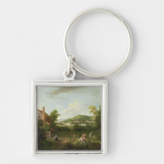 Landscape with Farmworkers, c.1730-40 (oil on canv Silver-Colored Square Keychain
