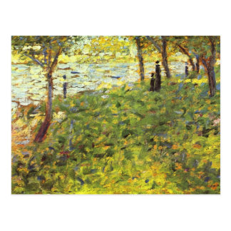 Landscape with figures by Georges Seurat Postcard