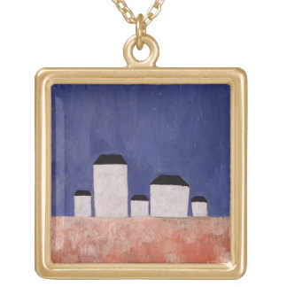 Landscape with Five Houses, c.1932 Gold Plated Necklace