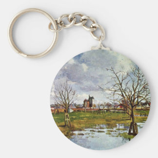 Landscape With Flooded Fields By Pissarro Camille Key Chains