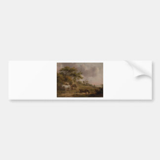 Landscape with Four Horses by George Morland Bumper Sticker