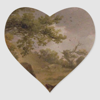Landscape with Four Horses by George Morland Heart Sticker