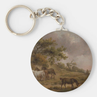 Landscape with Four Horses by George Morland Keychain