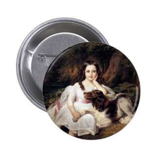 Landscape with Girl and Dog Pinback Button