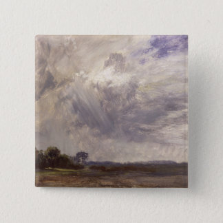 Landscape with Grey Windy Sky, c.1821-30 (oil on p Pinback Button