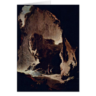 Landscape With Grotto By Philipp Peter Roos Greeting Card