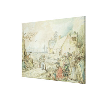 Landscape with Gypsy Fortune-Tellers Stretched Canvas Print