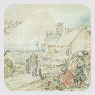 Landscape with Gypsy Fortune-Tellers Square Sticker