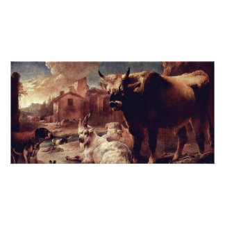Landscape With Herd By Roos Philipp Peter Custom Photo Card
