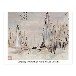 Landscape With High Peaks By Kao Ch'Ip'Ei Post Card