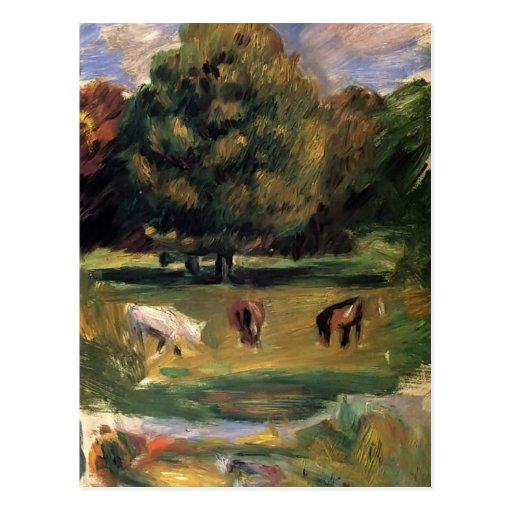 Landscape with Horses by Pierre-Auguste Renoir Post Cards