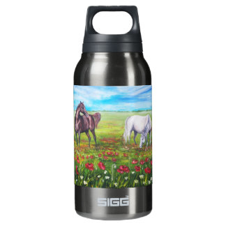 landscape with horses insulated water bottle