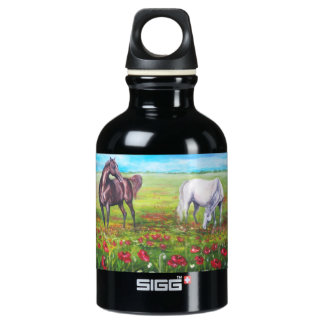 landscape with horses water bottle