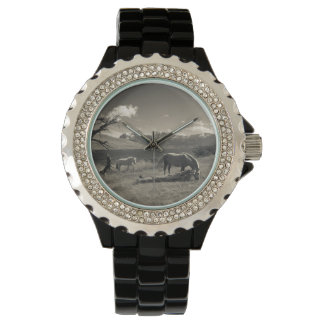 Landscape with horses wrist watch