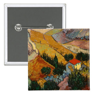 Landscape with House and Ploughman, 1889 Pinback Button