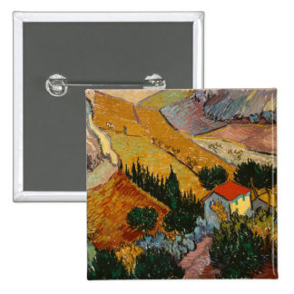 Landscape with House and Ploughman, 1889 2 Inch Square Button