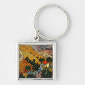 Landscape with House and Ploughman, 1889 Silver-Colored Square Keychain