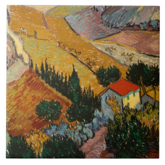 Landscape with House and Ploughman, 1889 Large Square Tile