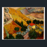 "Landscape with House & Ploughman, Vincent Van Gogh Postcard<br><div class=""desc"">Landscape with House and Ploughman,  Vincent Van Gogh. landscape, with, house, ploughman, vincent, van, gogh, cool, old, master, masterpiece, art, fine, retored, impressionism, pain, painting, vibrant, saturated, colour, beautiful, nice, quality, high, resolution, scenery, art</div>"