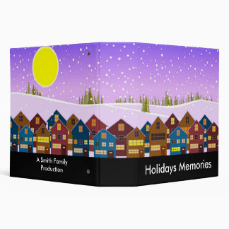 Landscape with houses and snow 3 ring binder