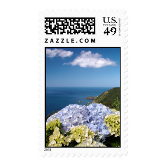 Landscape with hydrangeas postage stamps