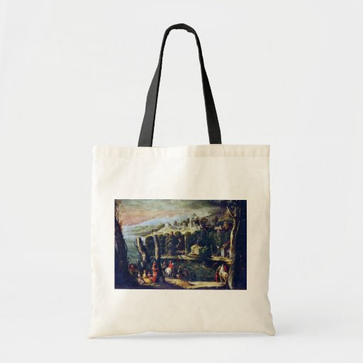 Landscape With Ladies And Knights By Nicolã² Dellâ Canvas Bags