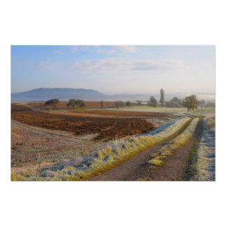 Landscape with Maulbronn with hoarfrost, dirt road Poster