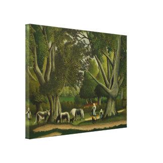 Landscape with Milkmaids by Henri Rousseau Canvas Print