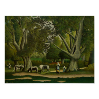 Landscape with Milkmaids by Henri Rousseau Poster