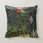 Landscape with Monkeys - Henri Rousseau artwork Throw Pillow